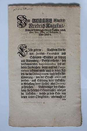 der Starke). Erlaß über die Umlage der: Friedrich August I.,