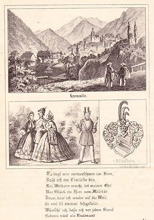 KREMNITZ / KREMNICA. Gesamtansicht, darunter Karikatur und Wappen v. Bischofheim sowie ...