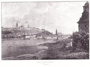 PRESSBURG / BRATSLAVA. Gesamtansicht über die Donau. Lithographie (von Jakob Alt ; 1833)....