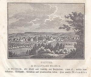 BRETTEN / BADEN. Gesamtansicht. Holzschnitt von J. Hackenberg aus Heunisch, 1838. Reine Bildgr...