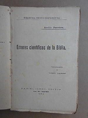 Errores Científicos de la Biblia. Trad. de Vicente Colorado.: Ferrière, Emilio.