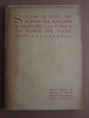 SONATA DE ESTÍO. Memorias del Marqués de Brandomín: Las Publica Don .: ...
