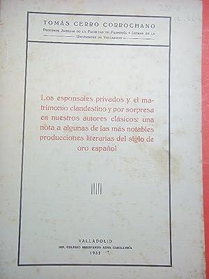 Los Esponsales Privados y el Matrimonio Clandestino: Cerro Corrochano, Tomás.