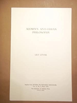 Azorín's Anti-Urban Philosophy.: Azorín Litvak, Lily.