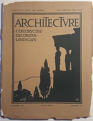ARCHITECTURE. June 1903. Volume VII, Number 42: Tuxedo Park]
