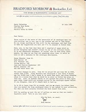 John Steinbeck a Collection of Books & Manuscripts, the Harry Valentine Collection (Xerox Manuscr...