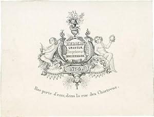Geschäftskarte auf Porzellankarton des Graveurs und Druckers Herman, Rue Porte d'Eau N&...