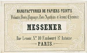 Geschäftskarte auf Porzellankarton der Tapetenfabrik Messener, Rue Lenoir, Nº 10, Paris.