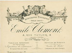 Geschäftskarte von Émile Clement, Lithographie - Typographie - Taille-Douce, 8, rue Taylor, Paris.