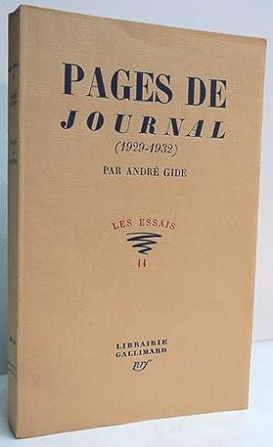 PAGES DE JOURNAL (1929-1932).: GIDE (André).