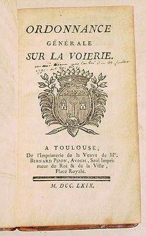 ORDONNANCE GÉNÉRALE SUR LA VOIERIE [DE TOULOUSE].: ANONYME].