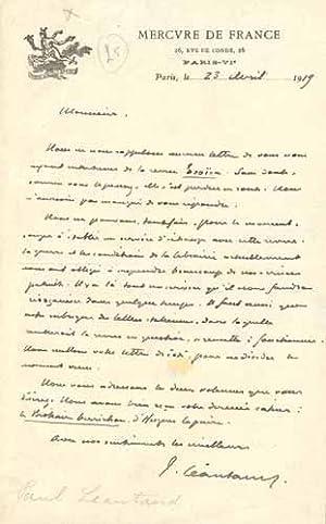"""LETTRE AUTOGRAPHE signée, localisée et datée """"Paris, le 23 avril 1919&..."""