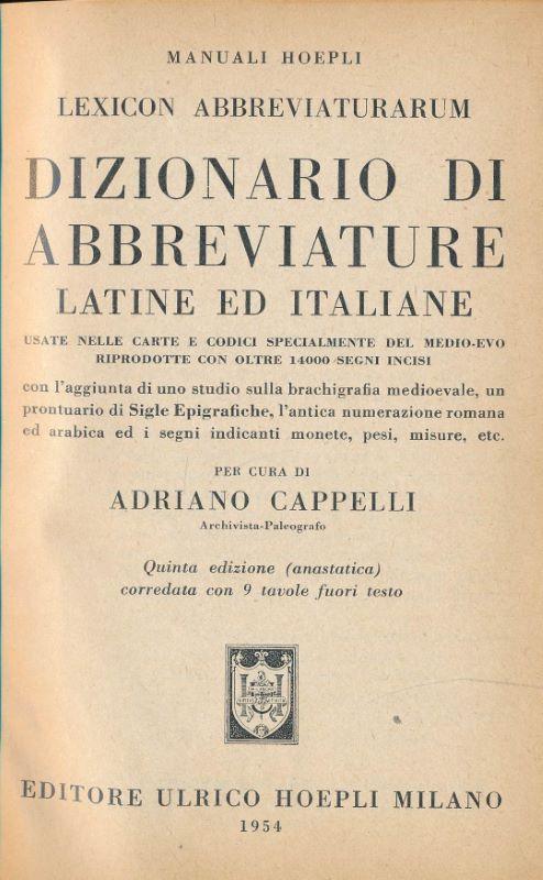 dizionario di abbreviature latine ed italiane - AbeBooks 2cfb195664c8