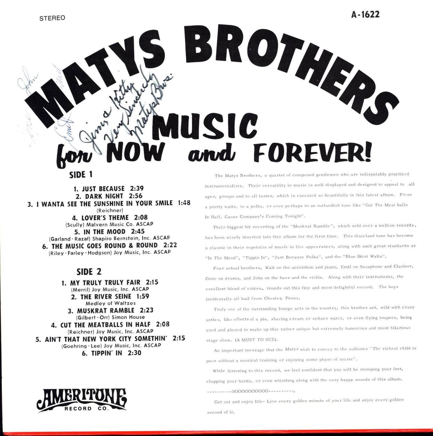 Matys Brothers / Music for Now and Forever!