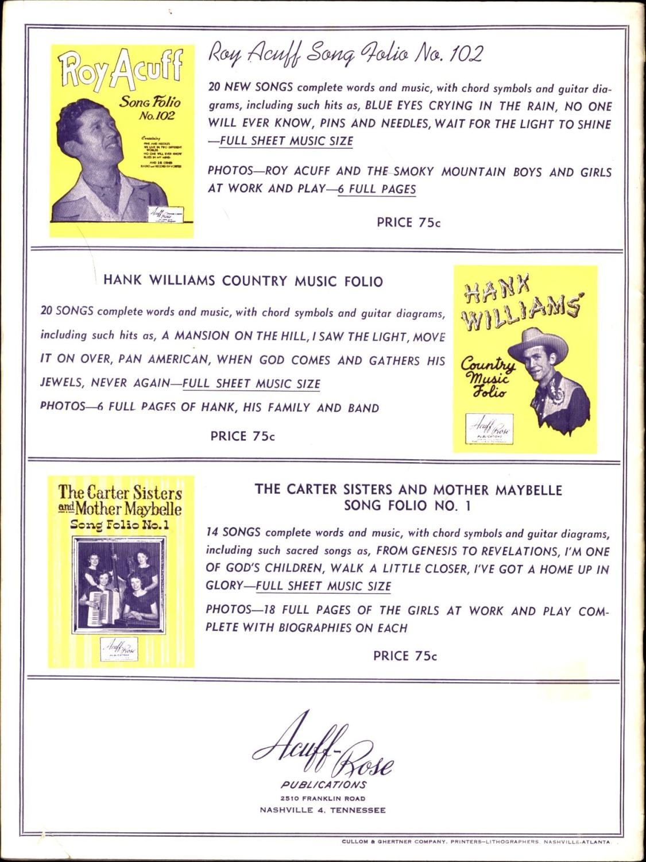 Hank Williams Favorite Songs By Hank Williams Acuff Rose