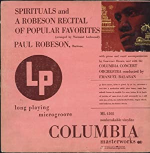 Spirituals and A Robeson Recital of Popular Favorites (arranged by Normand Lockwood) (VINYL LP): ...