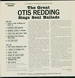 The Great Otis Redding Sings Soul Ballads / Electronically Re-recorded to Simulate Stereo (...