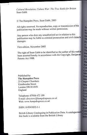 Cultural Revolution, Culture War / The True Battle for Britain (SIGNED): Gabb, Sean
