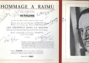 Hommage a Raimu (VINYL FRENCH LP SIGNED by Arletty, others -- AUTOGRAPHED): Simenon, Georges; ...