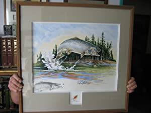 Original Painting of a Jumping Trout by Bill Elliott [and mounted underneath] A Polar Shrimp Fly ...