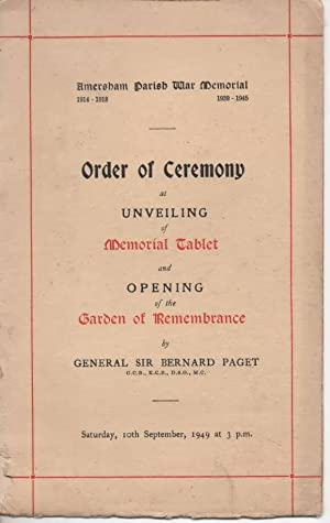 Order of Ceremony At Unveiling of Memorial Tablet and Opening of the Garden of Remembrance