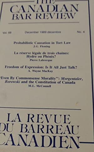 The Canadian Bar Review, Vol. 68 No. 4 December 1989/ La Revue Du Barreau Canadien