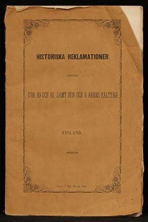 Historiska reklamationer rörande 1788, 89 och 90,: QVANTEN, Emil von.