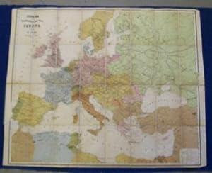 Eisenbahn- und Dampfschiffsrouten- Karte von Europa.: Sohr, K.