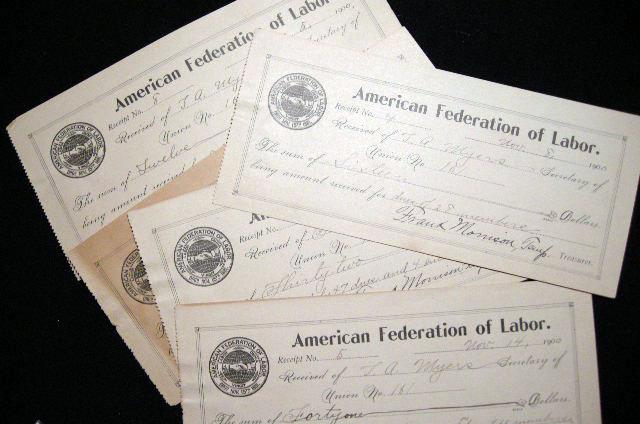 1900 5 Receipts Signed By Union Leader Frank Morrison of the American Federation of Labor to Thomas A. Myers Secretary of Union No. 161 (American Fed