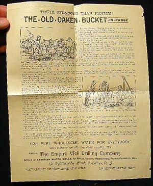 Circa 1890 Broadside Advertisement Truth Stranger Than Fiction! The Old Oaken Bucket in Prose.for ...