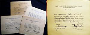 1936 - 1938 Four Certificates Granted for Studies Taken at the New York State College of ...