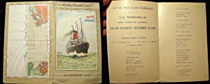 List of First Class Passengers S.S. Minneapolis New York to London. Sailing Saturday, September 30,...