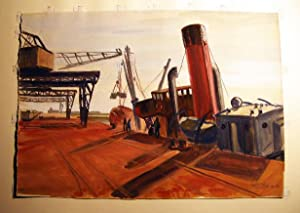 """Granville"""" (dockside) Original Watercolor on Paper, Titled, Signed and Dated By Claude Remusat:..."""