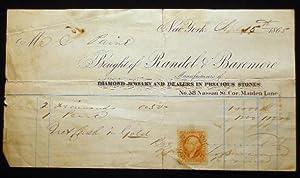 1865 Receipt for Two Diamonds & A: Americana - 19th