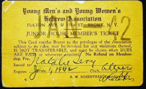 1942 Junior House Member's Ticket Young Men's: Judaica - 20th