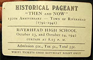 """Admission Ticket to Historical Pageant """"Then and Now"""" 150th Anniversary - Town of ..."""