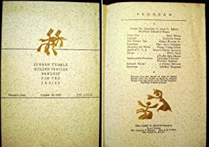Zuhrah Temple Golden Jubilee Banquet for the Ladies Woman's Club October 18, 1935 Program ...