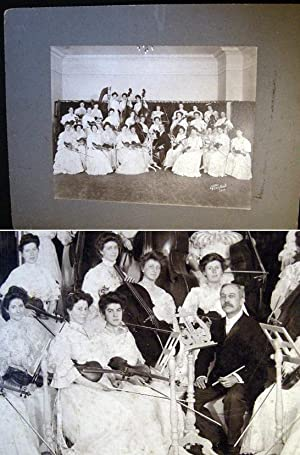1910 Large format mounted photograph of an Women's Entirely Stringed Instrument Orchestra by ...
