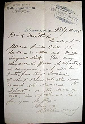February 10, 1893 Autograph Letter Signed on Cattaraugus Union Newspaper Letterhead By R.H. ...