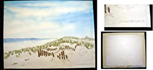 1970 Watercolor Dunes Landscape Signed By East Hampton Long Island Artist Fred Stover: Long Island ...