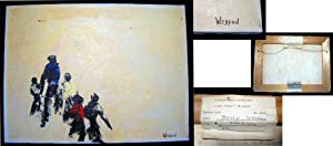 """1970 Oil on Canvas Signed By Betty Wesson """"The Hope"""" with the Exhibition Label of the ..."""