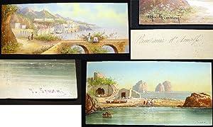 Circa 1895 Two Original Gouache Scenes of: Art - Italy
