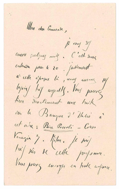 Lettre autographe signée: MUSSOLINI Benito
