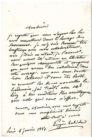 Lettre autographe signée: LABICHE Eug�ne