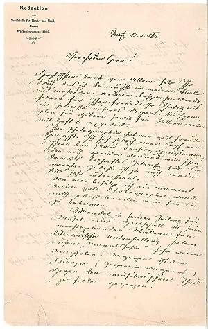 Lettre autographe signée: SACHER-MASOCH L�opold