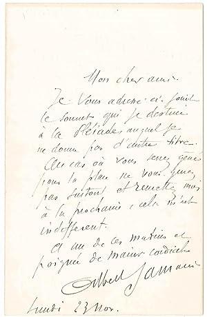 Lettre autographe signée: SAMAIN Albert