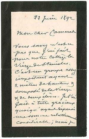 Lettre autographe signée: ALLOUARD Henri Émile
