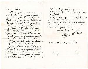 Lettre autographe signée: BARTHOLDI Auguste