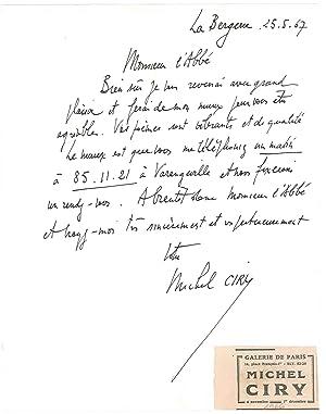 3 lettres autographes signées: CIRY Michel