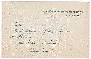 Billet autographe signé: LAURENCIN Marie